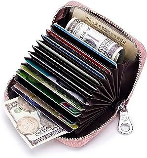 ZOONAI - Cartera de Piel con Cierre para Tarjetas de crédito con Bloqueo RFID, Cartera Tipo acordeón Morado Morado Talla única