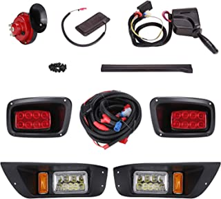 10L0L Golf Cart Led Headlight and Tail Light Kit for 1996-2015 EZGO TXT Carts with Turn Signals Switch Horn Brake Lights Harness(Must Input 12 Volts)