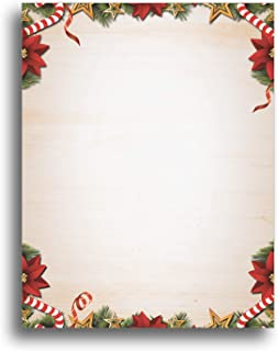 Candy Canes, Poinsettias, Pine Christmas Stationery Paper - 80 Sheets of Holiday Letterhead - 8.5