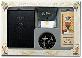 First Holy Communion Blessed Trinity 6 Piece Deluxe Remembrance of My Boxed Gift Set (Black (Boys))