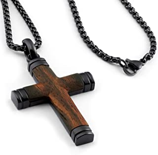 """Metal Masters Co. Black Stainless Steel Cross Pendant, Real Santos Wood Free Necklace 24"""" Round Box Chain"""