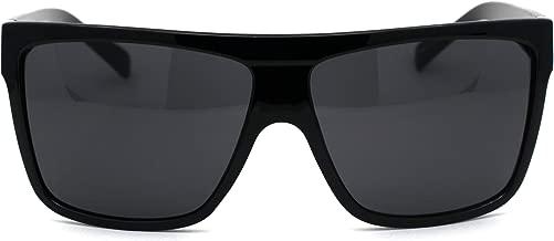 Minimal Squared Flat Top Mob Gangster Plastic Rectangular Sunglasses