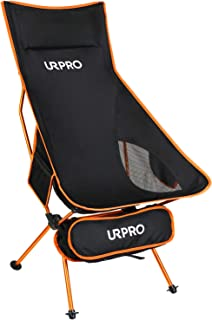 URPRO Upgraded Outdoor Camping Chair Portable Lightweight Folding Camp Chairs with Headrest & 2-Sided Pocket High Back for Outdoor Backpacking Hiking Travel Picnic Fishing