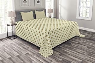 Ambesonne Retro Bedspread, Fleur-de-lis Flower of The Lily Design Traditional Repetitive Pattern, Decorative Quilted 3 Piece Coverlet Set with 2 Pillow Shams, Queen Size, Yellow Cream
