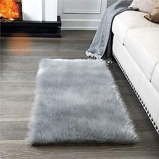 Super Soft Fluffy Rug Faux Fur Area Rug, Fur Rugs for Bedroom, Fuzzy Carpet for Living Room, 2x4 Feet, AILISI (Light Grey)