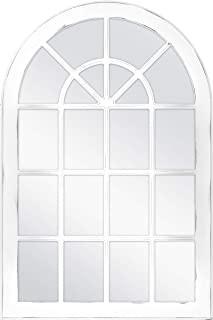 MCS Countryside Arched Windowpane Wall, White, 24x36 Inch Overall Size Mirror,