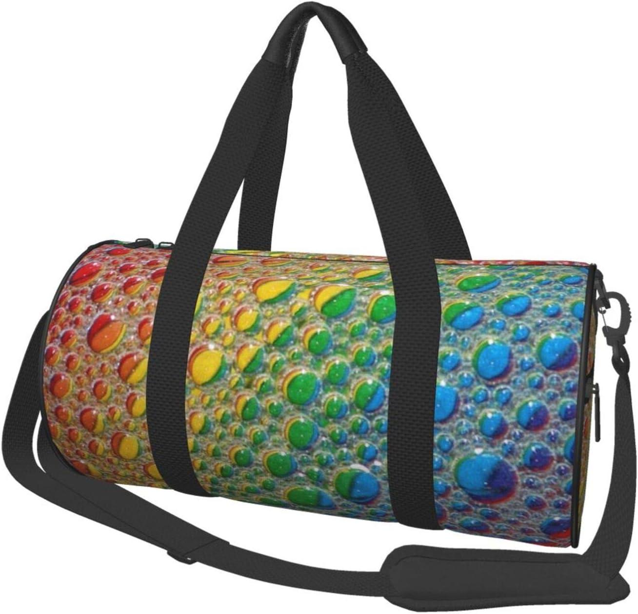 Round Sports Gym Ranking TOP10 Bag Rainbow Los Angeles Mall Handbag Water Droplets Yoga Sho
