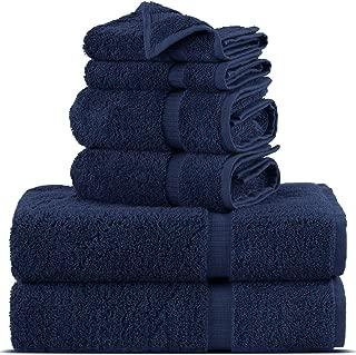 Towel Bazaar Premium Turkish Cotton Super Soft and Absorbent Towels (6-Piece Towel Set, Navy Blue)