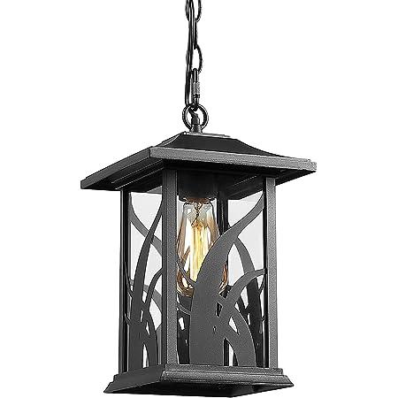 Amazon Com Beionxii Outdoor Pendant Light Exterior Hanging Lantern Porch Lights Sand Textured Black Cast Aluminum With Clear Glass A331h 1pk Home Improvement