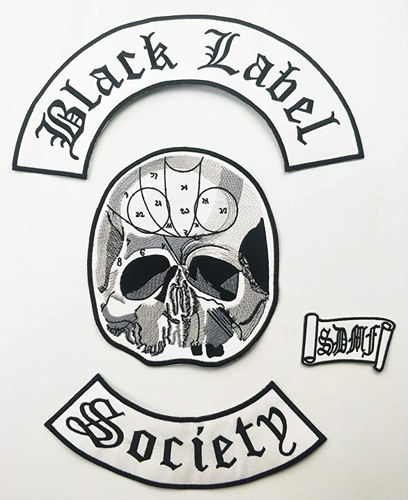 Excellent 4pc Back Set Black Label Society Embroidered Iron Patch Biker Jacket Rider Vest Patch Iron On Any Garment Model G0220 (30cmx28cm)