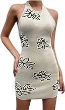 BIBOKAOKE Zomerjurk voor dames, sexy, mouwloze nekhouder, schoudervrije jurk, slanke gebreide minirok, zomerjurk, casual p...