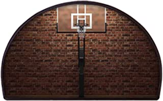 YOLIYANA Sports Decor Soft Semicircle Rug,Old Brick Wall and Basketball Hoop Rim Indoor Training Exercising Stadium Picture Print for Bathroom