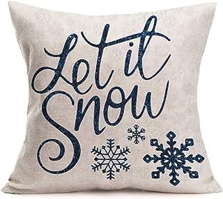 Asamour Christmas Theme Home Decor Pillowcase Let It Snow Quotes Lettering Cotton Linen Throw Pillow Case Cushion Cover Xmas Home Sofa Pillow Sham 18''x18'',Snowflake