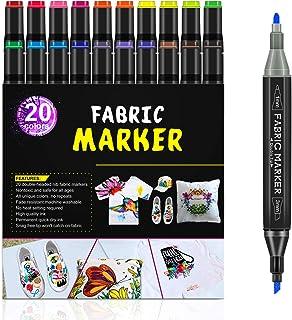 Rotuladores de tela RATEL, 24 con 20 marcadores textiles doble punta, 4 plantillas de dibujo, permanente y lavable Marcado...