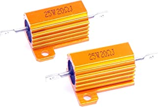 LM YN 25 Watt 20 Ohm 5% Wirewound Resistor Electronic Aluminium Shell Resistor Gold for Inverter LED lights Frequency Divider Servo Industry Industrial Control 2-Pcs