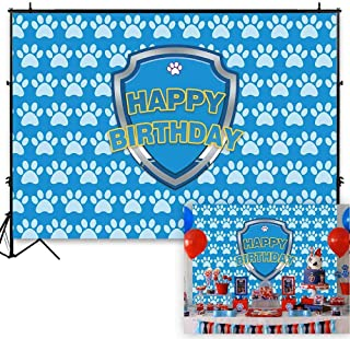 Funnytree 7x5ft Blue Puppy Dog Paw Backdrop Baby Boys Cartoon Birthday Pet Theme Party Banner Kids Photography Background Step and Repeat Cake Table Decorations Photo Booth Props