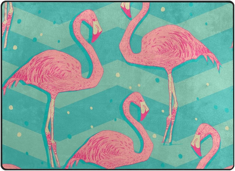 SUABO 80 x 58 inches Area Rug Non-Slip Floor Mat Flamingo Birds Printed Doormats for Living Room Bedroom