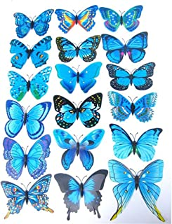 Goodtrade8 12PCS Beautiful 3D Butterfly Wall Decals Removable DIY Home Decorations Art Decor Wall Stickers & Murals for Babys Bedroom Background Living Room (Blue)