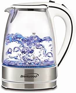 Brentwood KT-1900W White 1.7 L Tempered Glass Tea Kettle