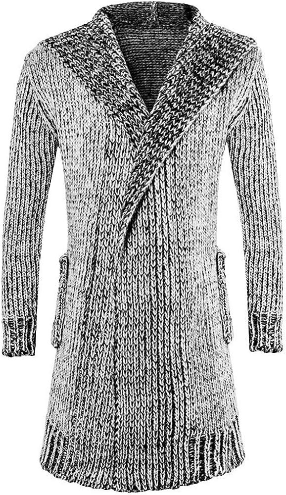 MODOQO Men's Long Cardigan Sweater Jacket Loose Fit Knit Hoodies Sweatshirts Trench Outwear