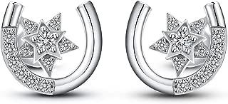 Sterling Silver Earrings Star: Horseshoe Star Shape Cubic Zirconia Stud Earrings Hypoallergenic