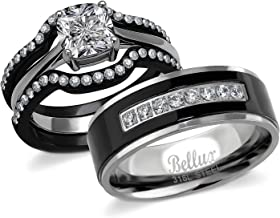 Bellux His and Hers Engagement Rings for Women - Wedding Rings for Women - Couples Rings - Promise Rings for Couples - Stainless Steel 1.03 Carats 3-Piece CZ Ring Sets & Mens Matching Black Bands