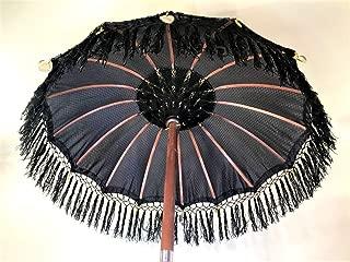 Black Bali Umbrella- Garden Umbrella, Hindu Umbrella, Traditional Indonesian Umbrella, Festival Umbrella, Pool Umbrella, Traditional Bali Festival Umbrella, Wedding Umbrella,