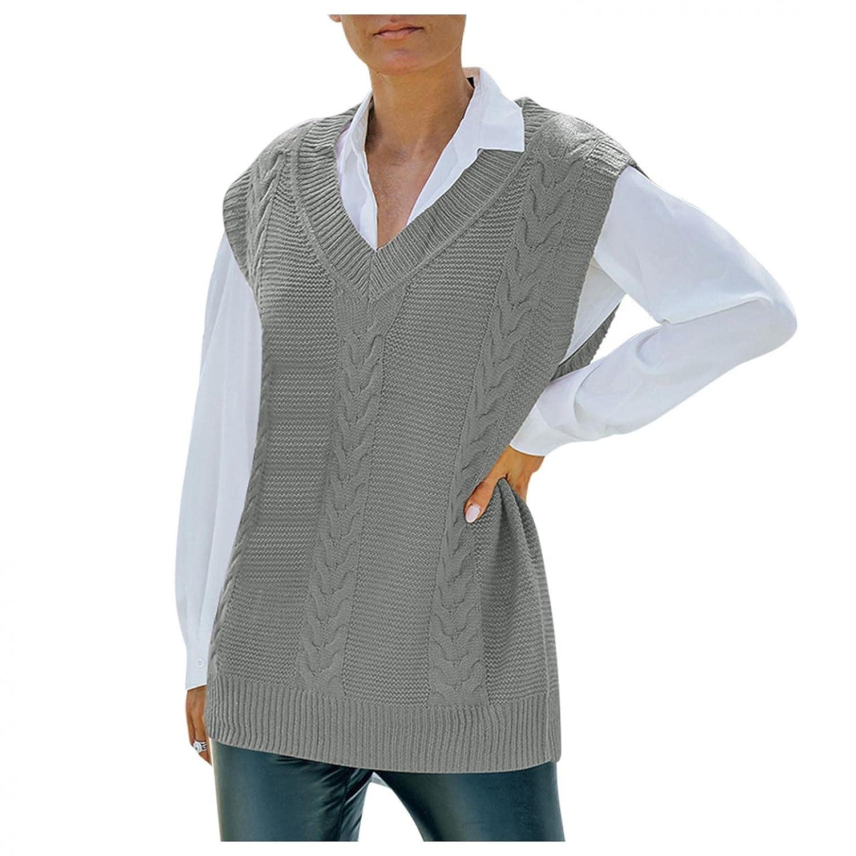 Padaleks Sweater Vest for Women Vint Oversized Neck Sleeveless V Very Max 54% OFF popular