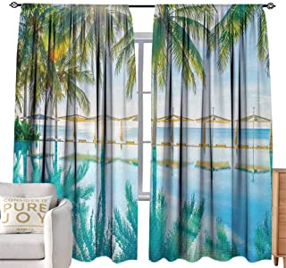 Glifporia Rod Pocket Blackout Curtains Landscape,Pool by The Beach with Lights Seasonal Eden Hot Sunny Humid Coastal Bay Photo,Green Blue W96 x L108 inch,for Living Room and Bedroom