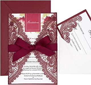 1 Set Burgundy Laser Cut Lace Wedding Invitation Sample with RSVP Cards,Burgundy Ribbon Bow and Envelopes Included, Elegant Invitation Cards for Wedding/Bridal Shower/Birthday Party, 125 x 185mm