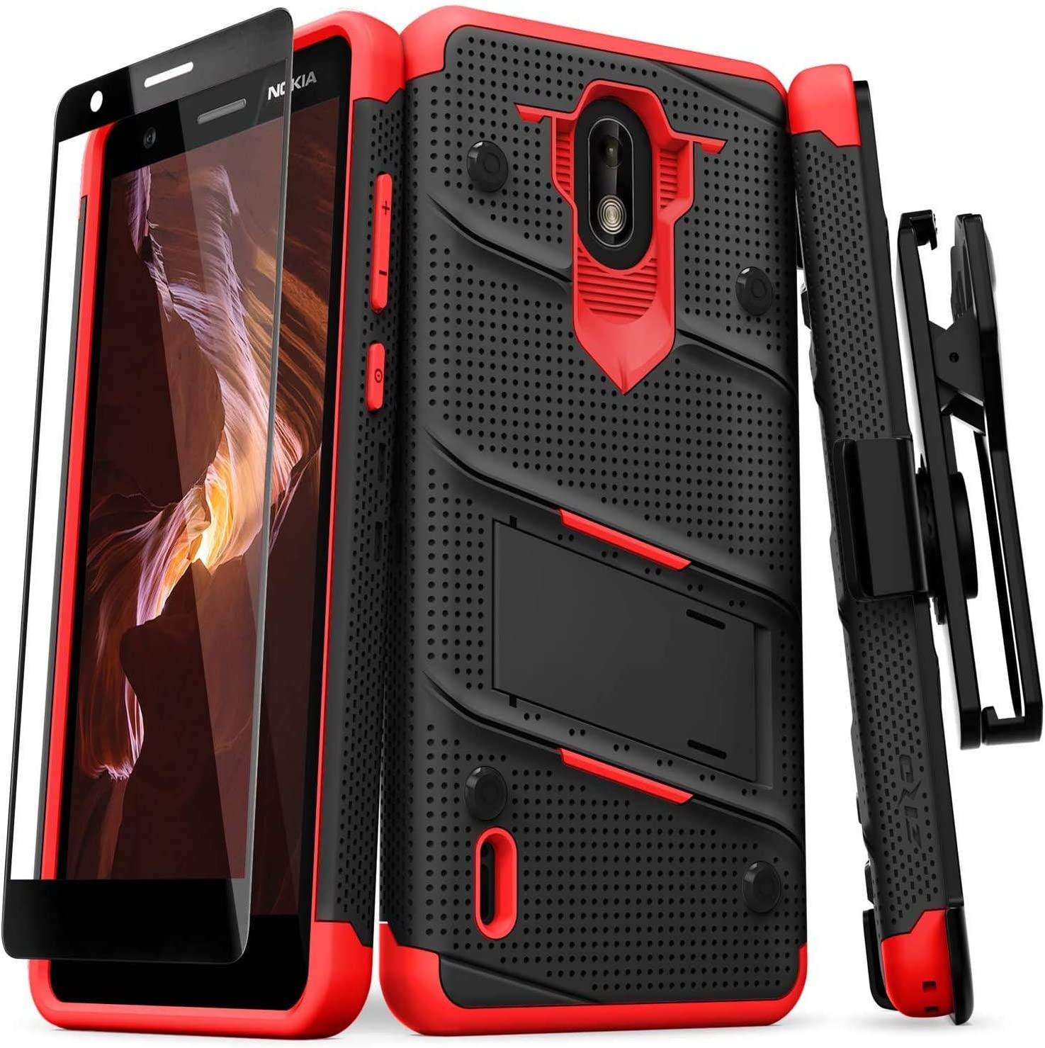 ZIZO Bolt Series Nokia 3.1 C Case Military Grade Drop Tested with Full Glass Screen Protector Holster and Kickstand Black Red