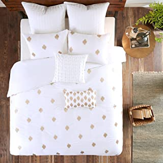 Ink+Ivy Stella Dot Duvet Cover King/Cal King Size - White Gold, Embroidered Duvet Cover Set – 3 Piece – Cotton Light Weight Bed Comforter Covers