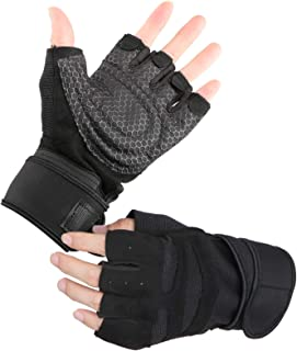 Workout Gloves, EEEkit Active Sports Exercise Ventilated Weight Lifting Gloves with Built-in Wrist Wraps Full Palm Protection & Extra Grip for Pull Ups Cross Training Fitness Riding for Men & Women