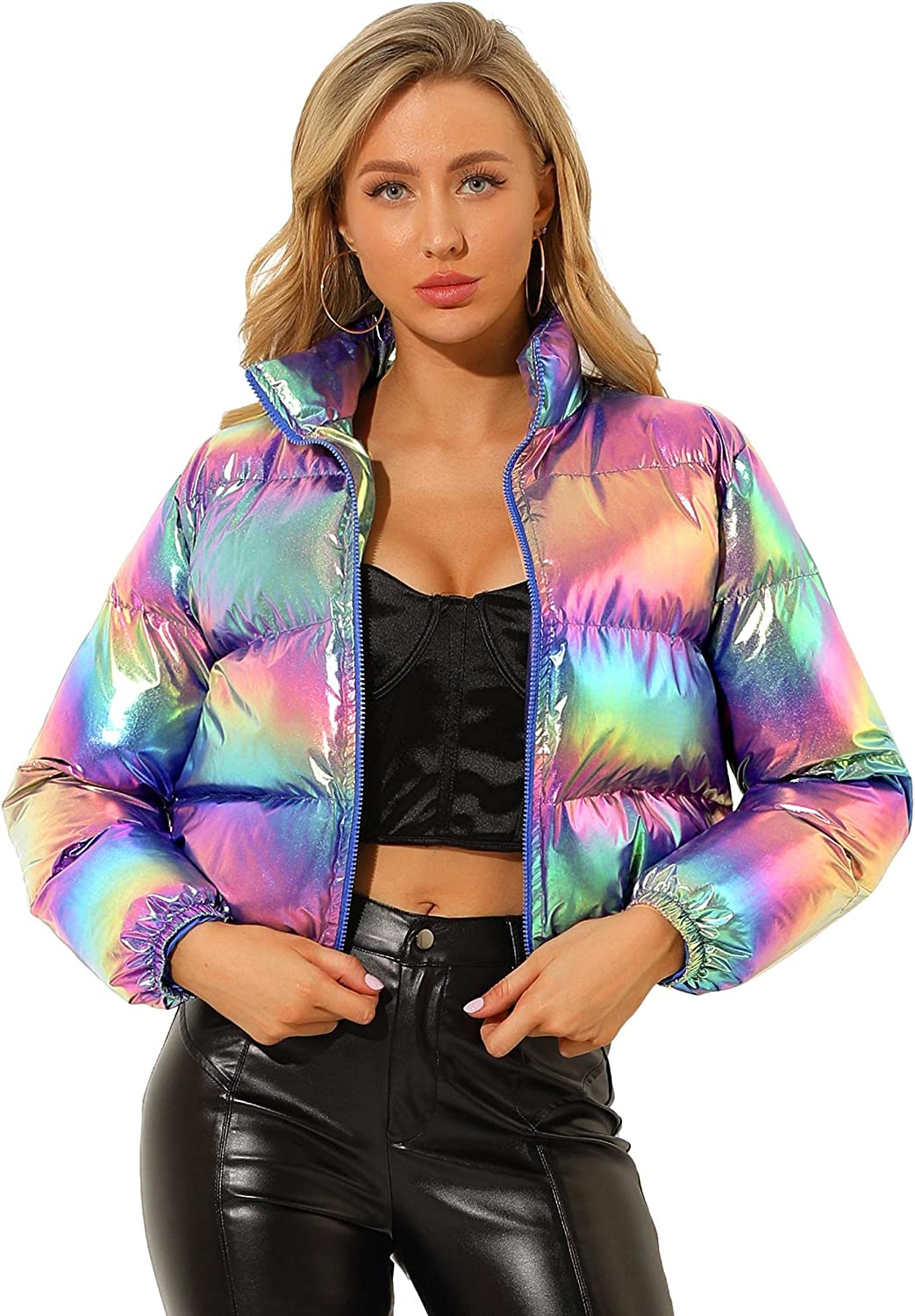 Allegra K Women's Winter Shiny Cropped Quilted Padded Puffer Metallic Coat