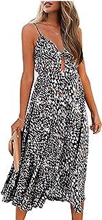 Damska sukienka kwiatowa spaghetti Strap Summer Tie Front V-Neck Spaghetti Strap Button Down A-Line Backless Swing Midi Dress