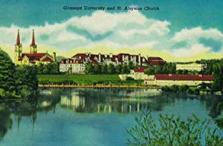 Spokane, Washington - Gonzaga University and St. Aloysius Church - Vintage Halftone 1141 (24x36 SIGNED Print Master Art Print - Wall Decor Poster)