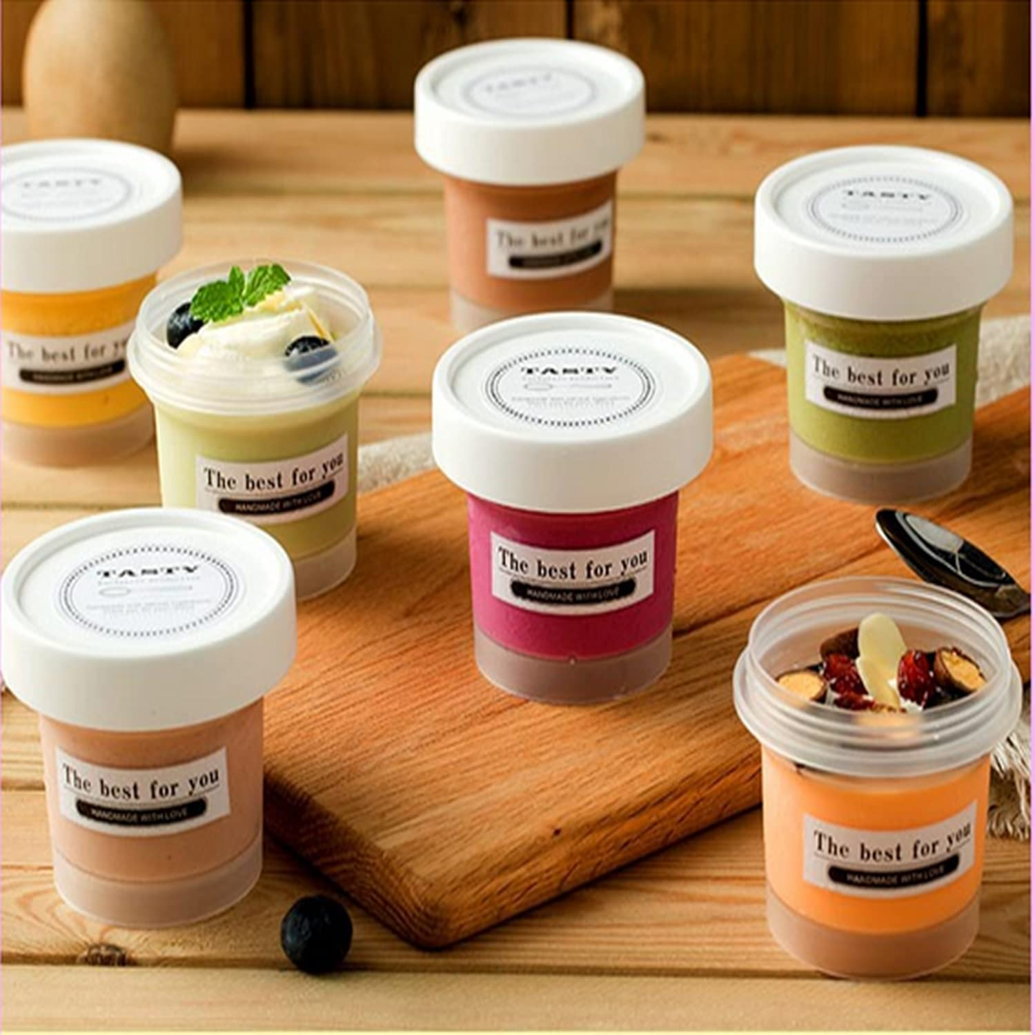 3.4 Oz Transparent Plastic Parfait Cup With Lid, 10-Piece Dessert Cup With Thick Dome Lid Without Hole, Children's Yogurt Fruit Parfait Cup, Take-Out Breakfast and Snacks (With Stickers)