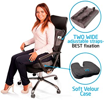 SOFTaCARE, Dark Gray Seat Cushion Coccyx Orthopedic Memory Foam and Lumbar Support Pillow, Set of 2