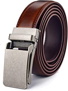 Autolock Men's Genuine Leather Ratchet Dress Belt with Click Buckle - Trim to Fit