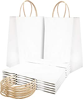 Paper Shopping Bags 10x5x13 Kraft paper bags 10 x 5 x 13 by Amiff. Pack of 25 White Retail bags. Kraft carrier bags with handles for Shopping, Merchandise and Grocery. Strong, Reusable.