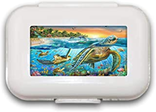 Sunok Turtle Pill Box Pill Case Pill Organizer Decoratieve Dozen Pill Box voor Pocket of Portemonnee - 8 Compartiment Pill...