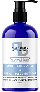 Pure Biology Hair Growth Stimulating Conditioner with Biotin, Keratin, Argan Oil, Coconut Oil, Vitamins B5 +E & Breakthrough Anti Hair Loss Complex for Thinning, Damaged & Dry Hair for Men & Women