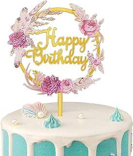 Gwotfy Happy Birthday Cake Topper, Décoration Gâteau danniversaire Decoration Gâteau Joyeux Anniversaire Acrylique Cupcake...
