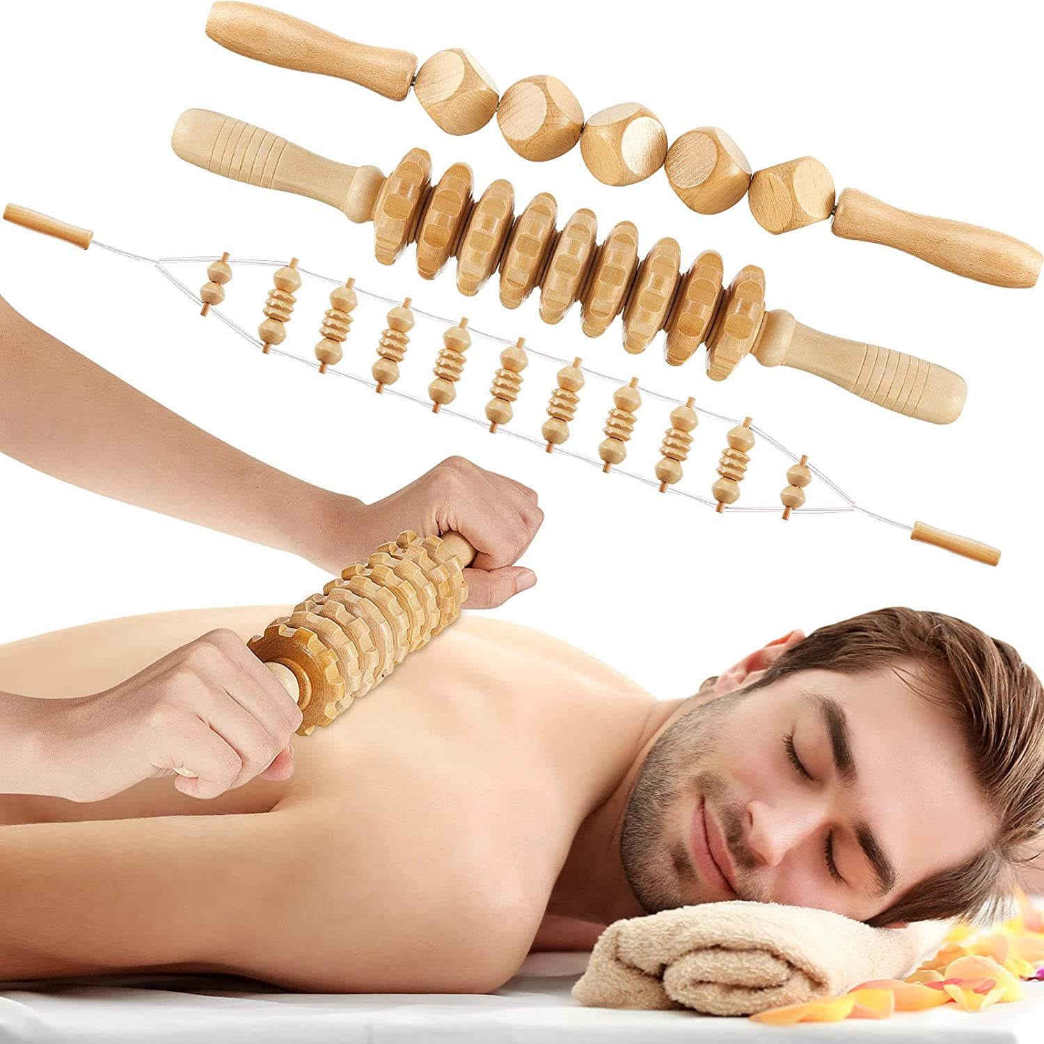 3 Pieces Wooden Massage Tools Massager Ranking TOP18 Handheld C Cellulite Anti 5% OFF
