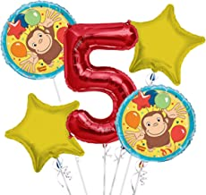 Curious George Balloon Bouquet 5th Birthday 5 pcs - Party Supplies