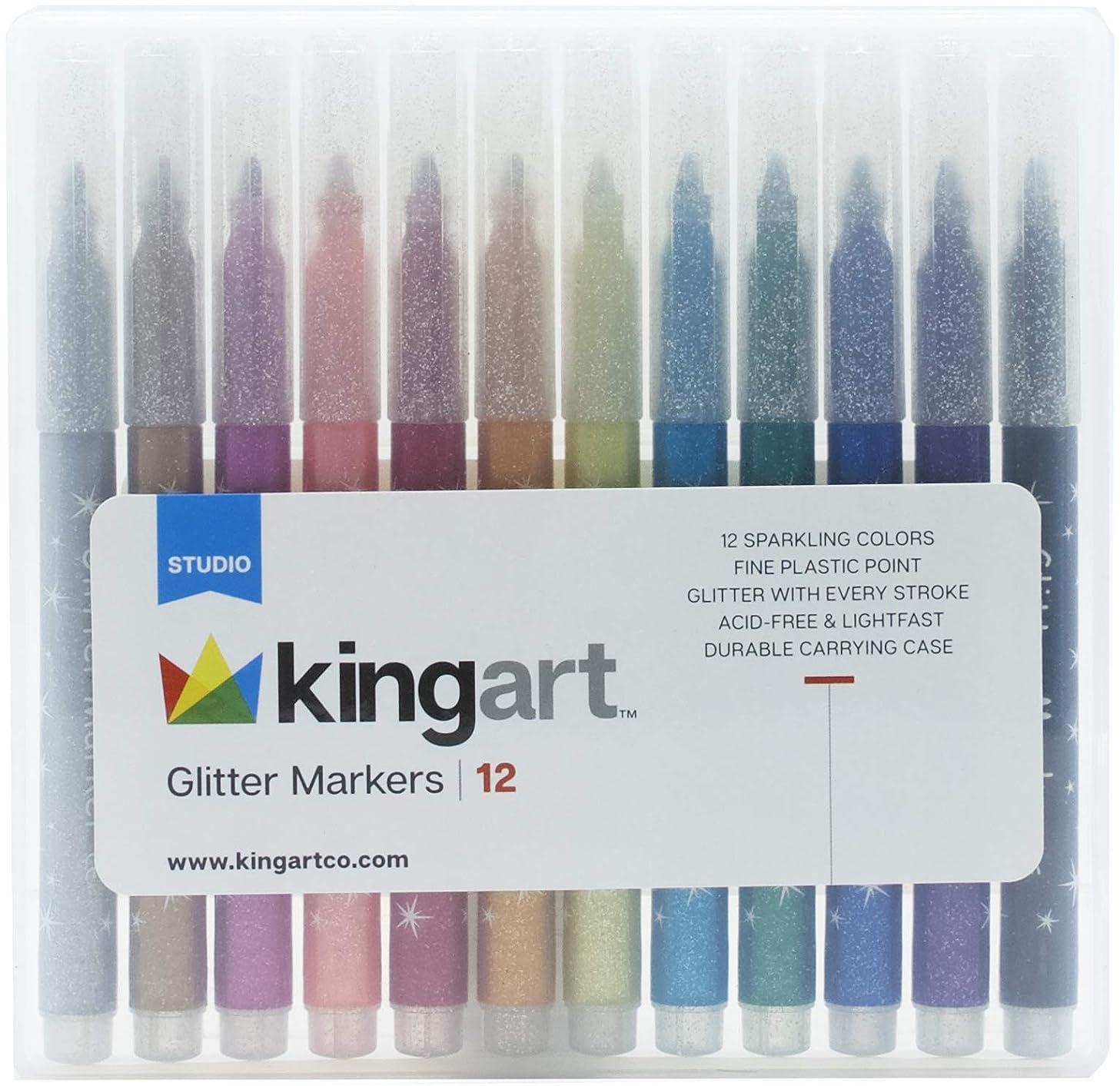KINGART 420-12 Glitter Marker Set, Multicolor