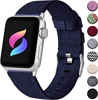 Haveda Fabric Bands Compatible for Apple Watch 40mm 44mm Series 4 Series 5, Soft iWatch Bands 38mm 42mm Womens, Woven Canvas Nylon Sport Strap for Apple Watch Series 3 Series 2/1 Men Kids Small Large