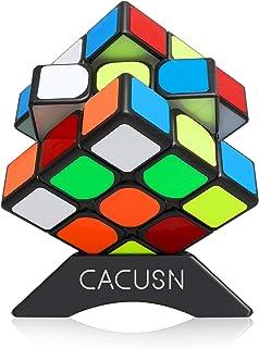 CACUSN 立体パズル 【磁石内蔵】M3.0 競技用キューブ 3x3x3 プロ向け ステッカー 世界基準配色 マグネット スタンド付き プロ向け