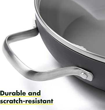 """GreenPan Chatham 11"""" Ceramic Non-Stick Covered Everyday Pan with 2 Helpers, Grey - CC000121-001"""