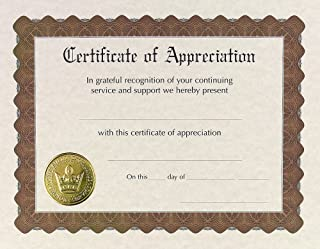 Great Papers! Certificate of Appreciation, Pre-Printed, Gold Foil, Embossed, 8.5
